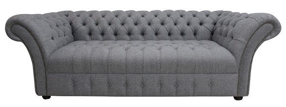 Chesterfield Balmoral 3 Seater Buttoned Seat Sofa Settee Grampian Steel Fabric