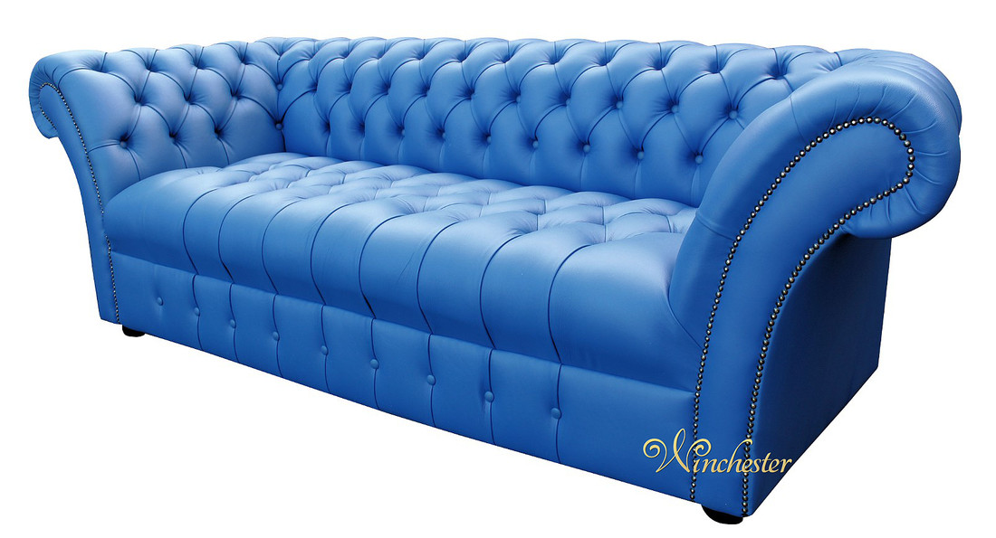 Blue Leather Chesterfield Sofa