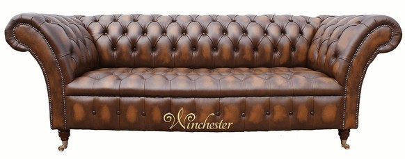 Chesterfield Cliveden 3 Seater Sofa Settee Button Seat Antique Tan Leather