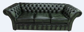 Chesterfield Balmoral 3 Seater Sofa Settee Antique Green Leather