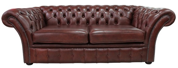 Chesterfield Belmont 3 Seater Sofa Settee Byron Conker Leather