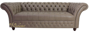 Chesterfield Balmoral 3 Seater Sofa Settee Milton Mushroom Leather DBB
