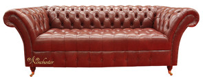 Chesterfield Balmoral 3 Seater Sofa Settee Old English Chestnut Leather