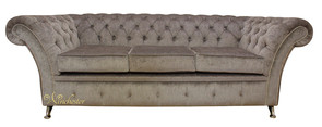 Chesterfield Balmoral 3 Seater Sofa Settee Perla Illusions Grey Fabric Chrome Feet/Studding