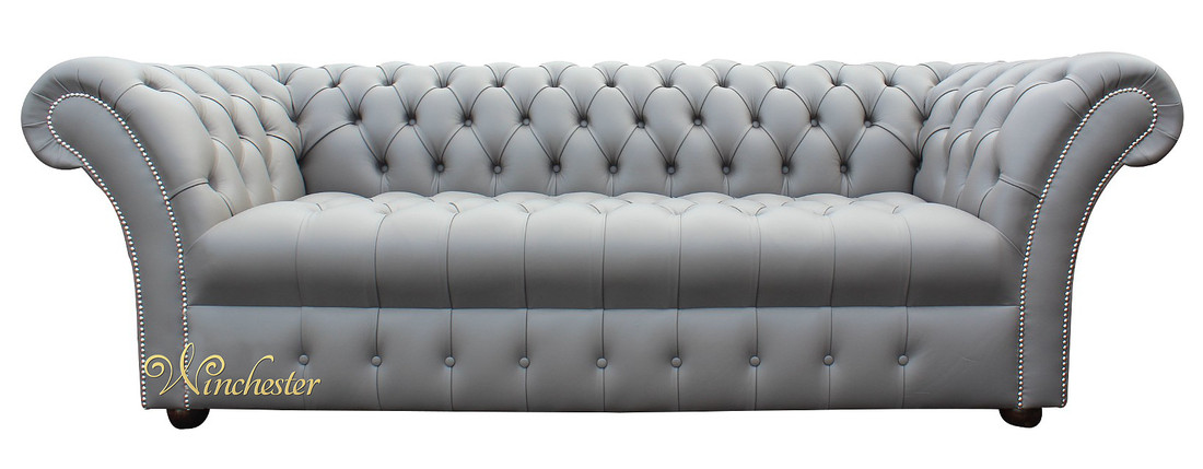 Chesterfield Balm 3 Seater Sofa Settee Silver Birch