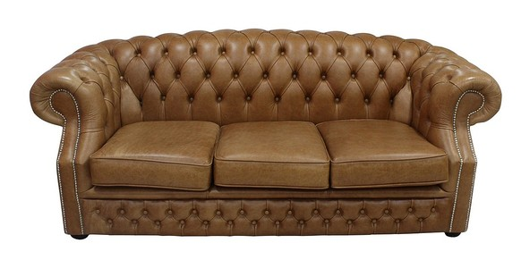 Chesterfield Buckingham 3 Seater Old English Tan Leather Sofa Offer