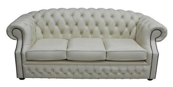 Chesterfield Buckingham 3 Seater Shelly Cream Leather Sofa Offer