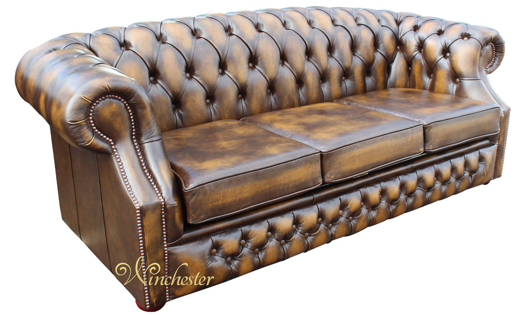 chesterfield buckingham 3 seater antique gold leather sofa. Black Bedroom Furniture Sets. Home Design Ideas