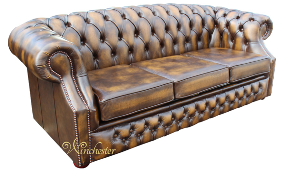 Chesterfield Buckingham 3 Seater Antique Gold Leather Sofa Offer