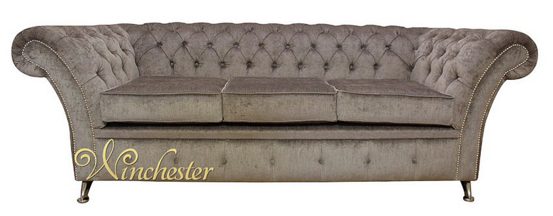 Chesterfield Cambridge 3 Seater Sofa Settee Perla Illusions Grey Fabric Chrome Feet Studding