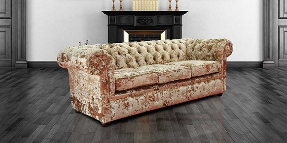 Chesterfield Crystal Diamond 3 Seater Lustro Gilded Velvet Sofa Offer