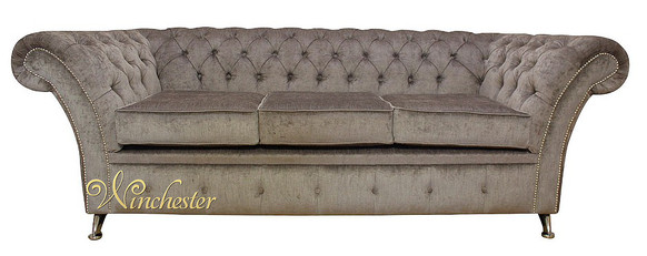 Chesterfield Drummond 3 Seater Sofa Settee Perla Illusions Grey Fabric Chrome Feet/Studding
