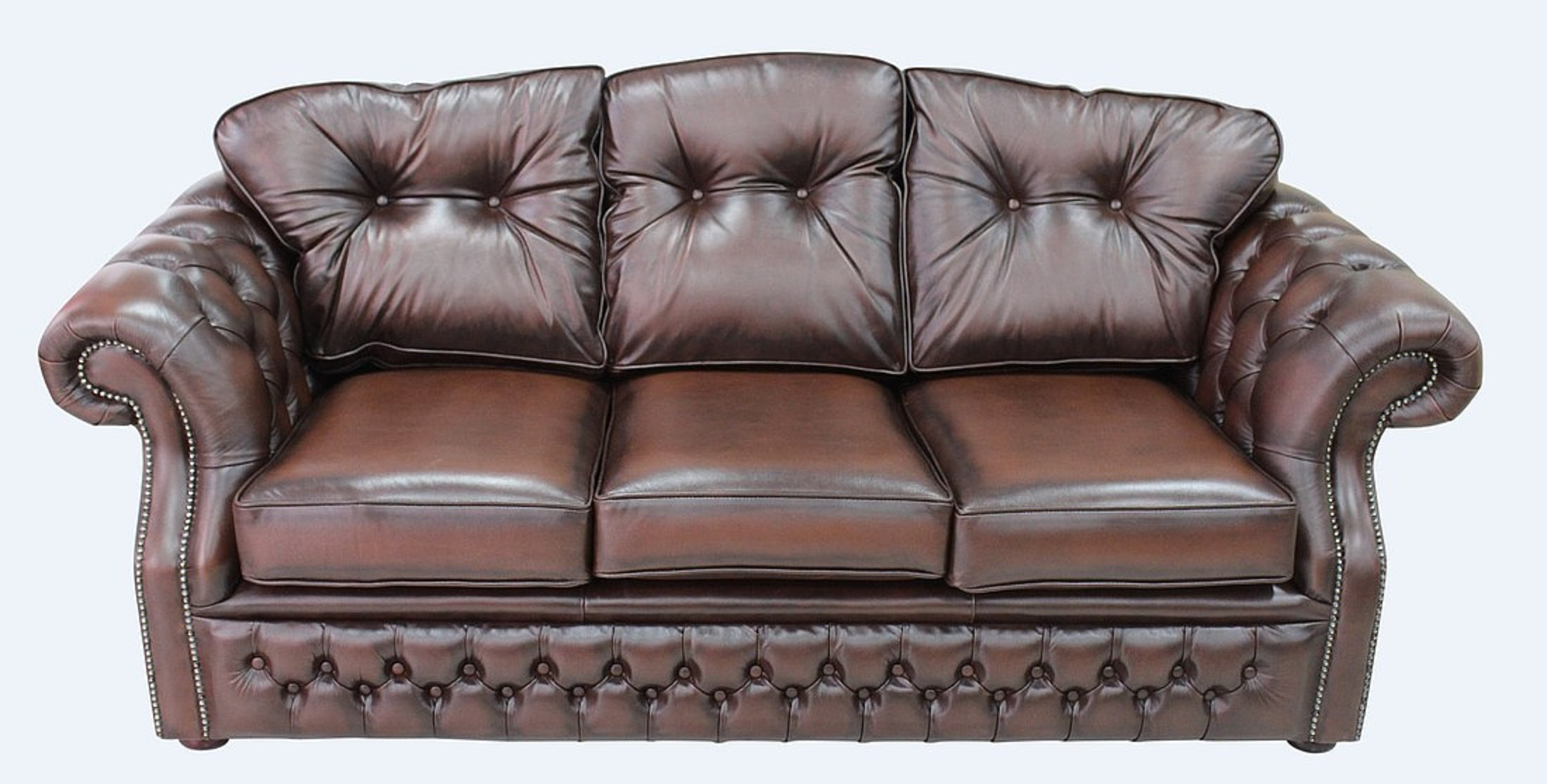 Chesterfield Era 3 Seater Settee Traditional Chesterfield Sofa Antique  Brown Leather
