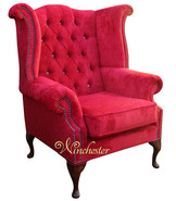 Chesterfield Swarovski Queen Anne High Back Wing Chair Post Box Red