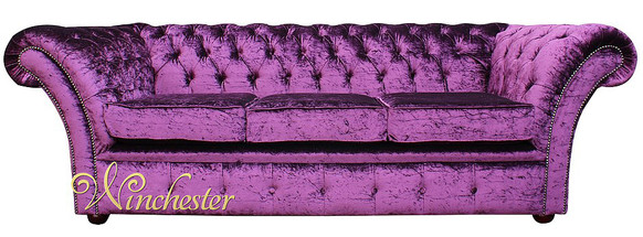 Chesterfield Grosvenor Purple 3 Seater Sofa Settee Boutique Crush Velvet Fabric