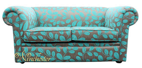 Chesterfield Hampton 2 Seater Sofa Settee Orchard Leaf Turquoise Fabric