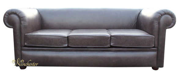 Chesterfield Hampton 3 Seater Settee Old English Smoke Leather Sofa