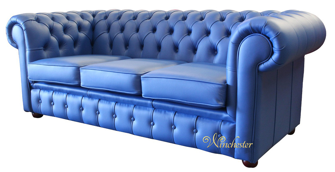 Blue Leather Chesterfield Sofa Thesofa