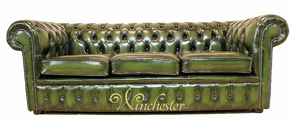 Chesterfield Holyrood 3 Seater Antique Green Leather Sofa Offer