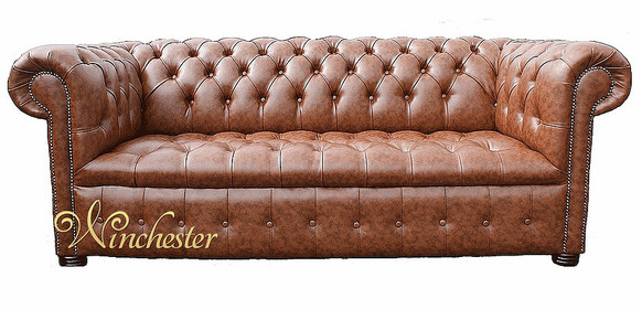 Chesterfield Kensington 3 Seater Buttoned Seat Teak Faux Leather Sofa Offer