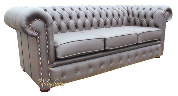 Chesterfield London 3 Seater Brown Leather Sofa Settee Offer