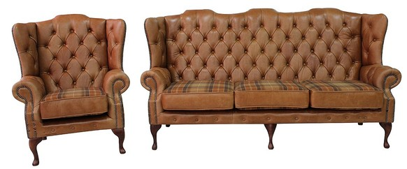 Chesterfield Ludlow 3+1 Queen Anne High Back Wing Sofa Old English Tan Leather With Vintage Caramel Wool