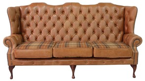 Chesterfield Ludlow 3 Seater Queen Anne High Back Wing Sofa Old English Tan Leather With Vintage Caramel Wool