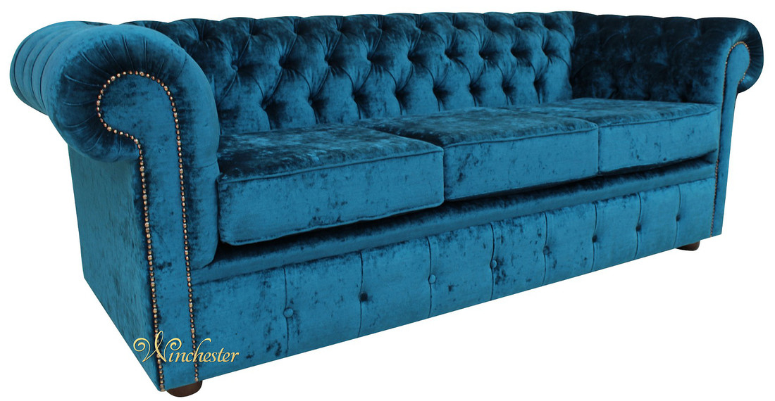 Chesterfield 3 Seater Settee Pastiche Petrol Velvet Sofa Offer