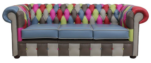 Chesterfield Patchwork Vele 3 Seater Settee Leather Sofa Offer