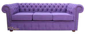 Chesterfield 3 Seater Settee Verity Plain Purple Fabric Sofa Offer