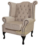 Chesterfield Swarovski Queen Anne High Back Wing Chair Pastiche Chalk Velvet