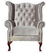 Chesterfield Swarovski Queen Anne High Back Wing Chair Perla Illusions Grey Velvet