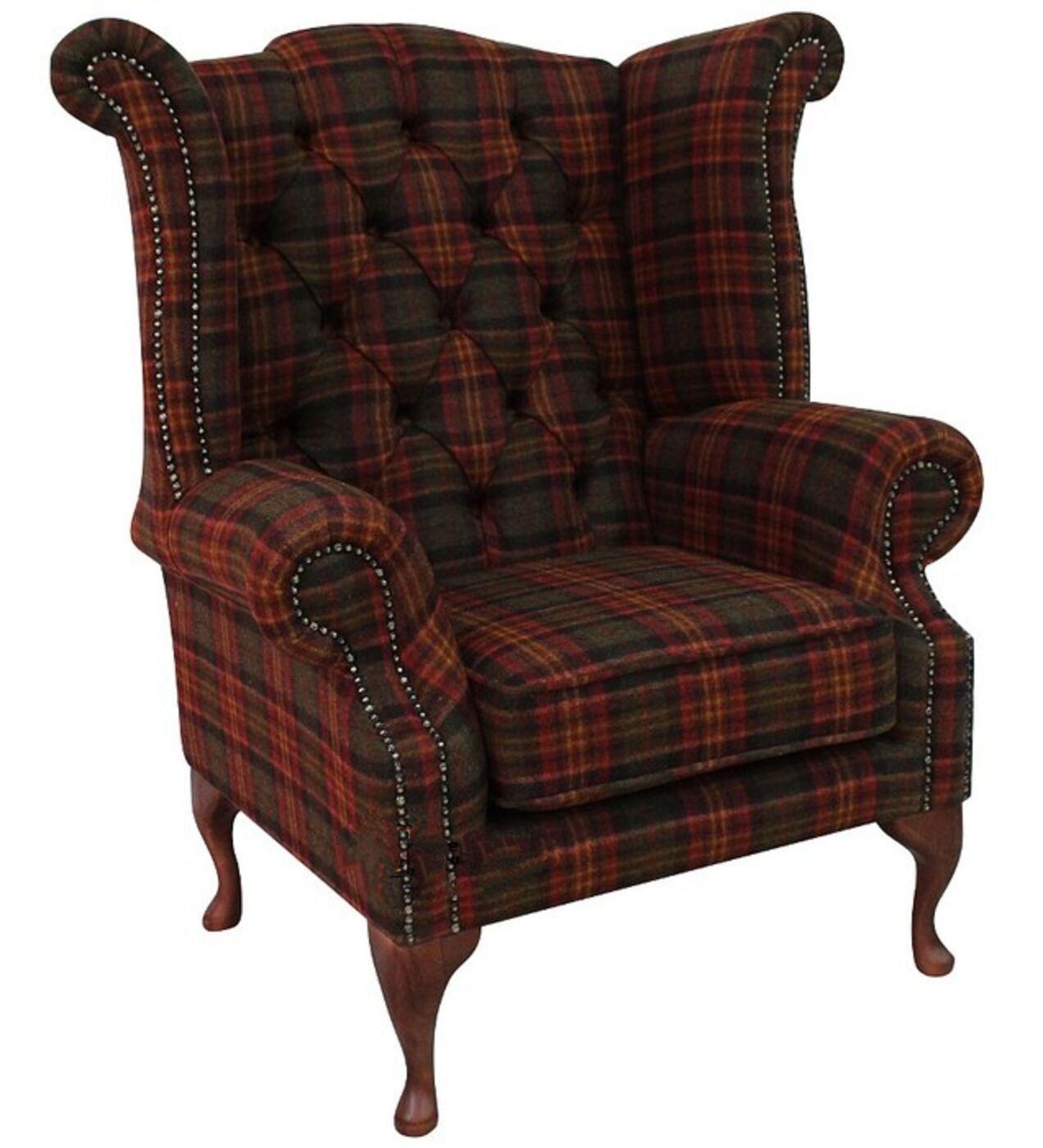 Chesterfield Queen Anne Wool Tweed Wing Chair Fireside High Back Armchair  Sandringham Mandarin Check