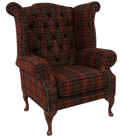 Chesterfield Queen Anne Wool Tweed Wing Chair Fireside High Back Armchair Sandringham Mandarin Check