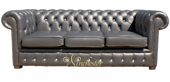 Chesterfield 3 Seater Swarovski CRYSTALLIZED™ Diamond Black Leather Sofa Offer