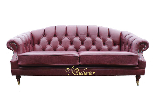 Victoria 3 Seater Chesterfield Leather Sofa Settee Old English Burgandy Leather