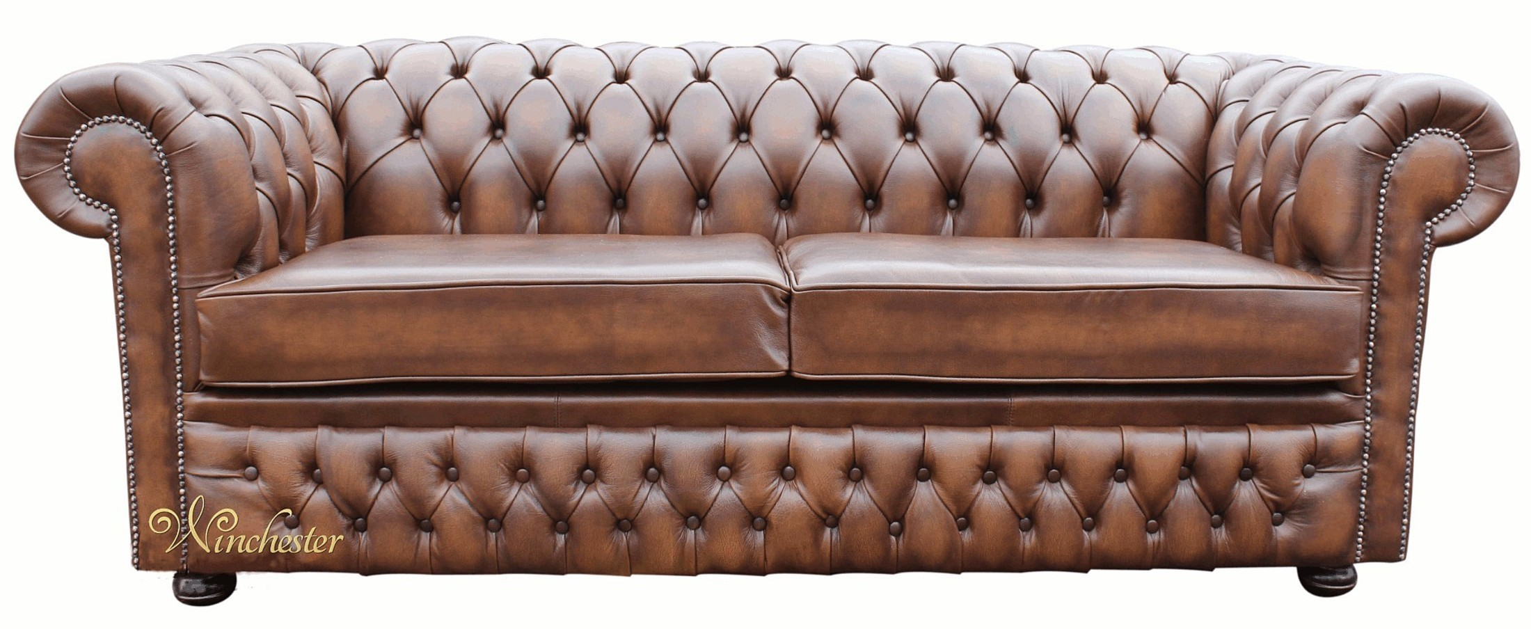 Attractive Chesterfield Winchester 3 Seater Antique Brown Leather