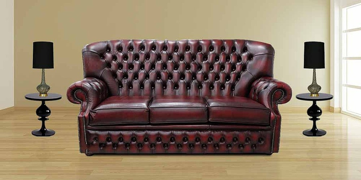 3 Seater Antique Oxblood Leather Sofa