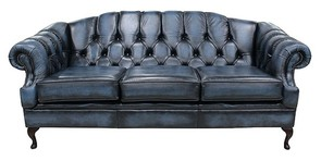 Victoria 3 Seater Chesterfield Leather Sofa Settee Antique Blue Leather