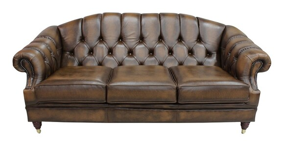 Victoria 3 Seater Chesterfield Leather Sofa Settee Antique Tan Leather