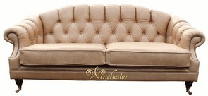 Victoria 3 Seater Chesterfield Leather Sofa Settee Old English Parchment Leather