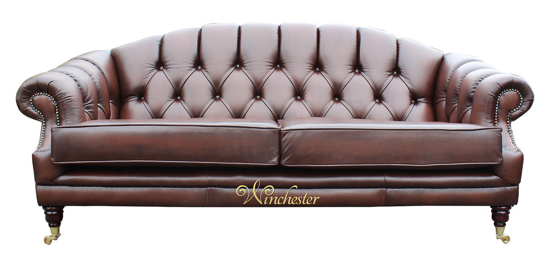 Victoria Chesterfield 3 Seater Sofa Antique Brown Leather Wc