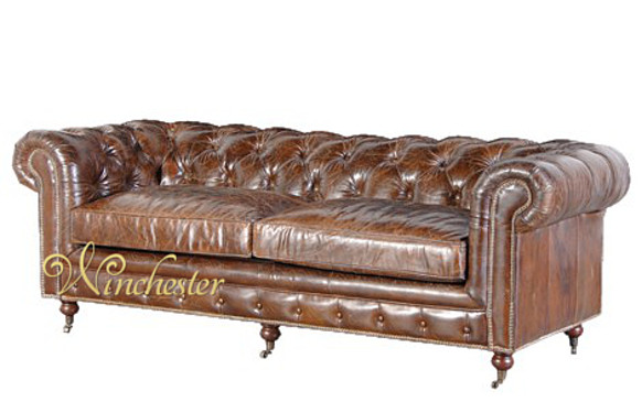 Vintage Leather 3 Seat Chesterfield Sofa