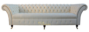Chesterfield Balmoral 4 Seater Sofa Buttoned Seat Settee Cream Leather