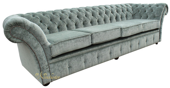 Chesterfield Balmoral 4 Seater Sofa Settee Velluto Lawn Fabric