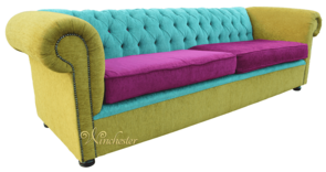 Chesterfield 4 Seater Settee Sofa Bespoke Fabric Lime Aubergine