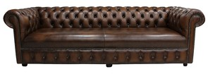 Chesterfield 1780's 4 Seater Settee Antique Brown Leather Sofa Offer