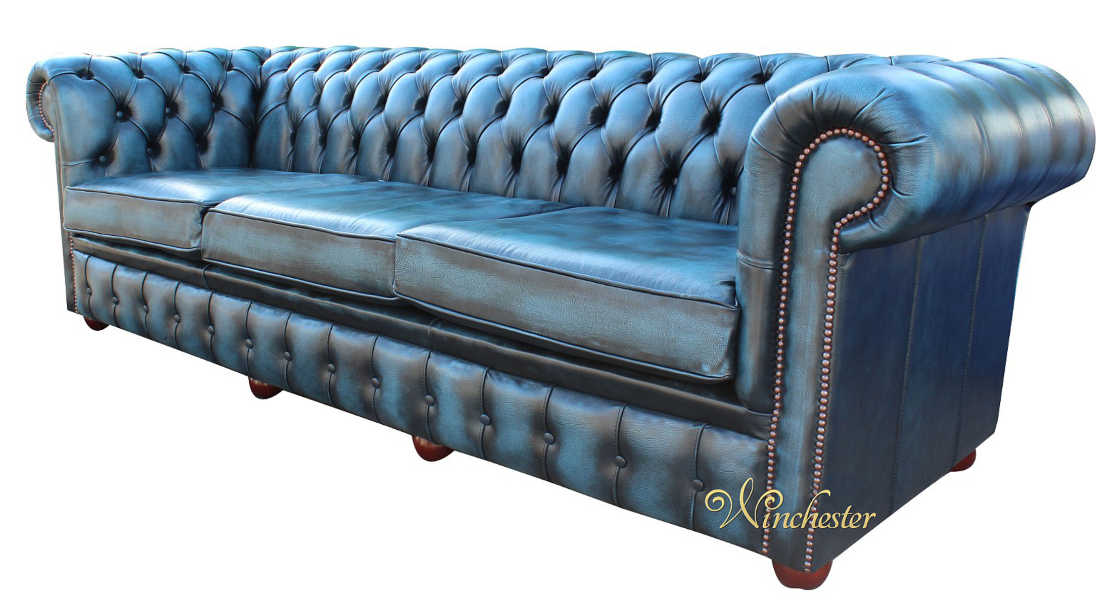 Chesterfield 4 Seater Antique Blue Leather Wc