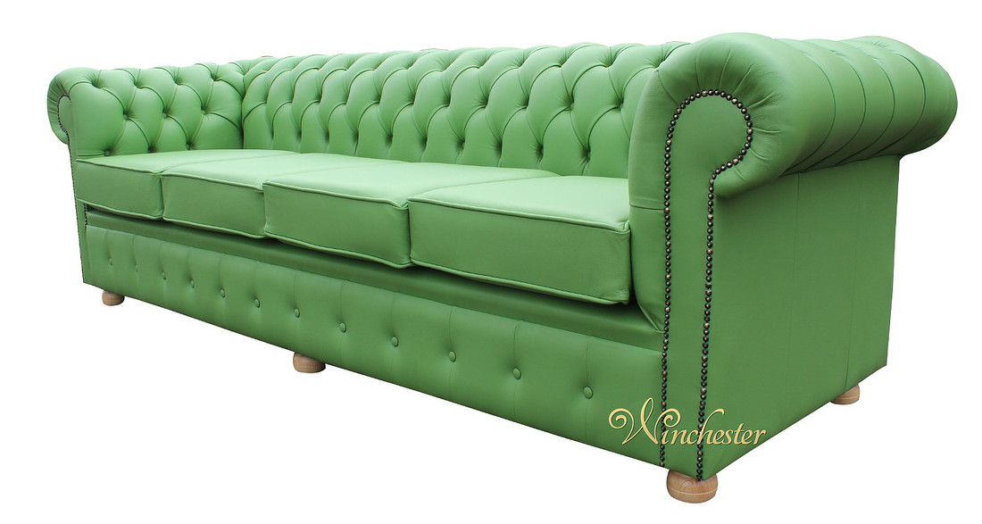 chesterfield 4 seater settee apple green leather sofa offer. Black Bedroom Furniture Sets. Home Design Ideas
