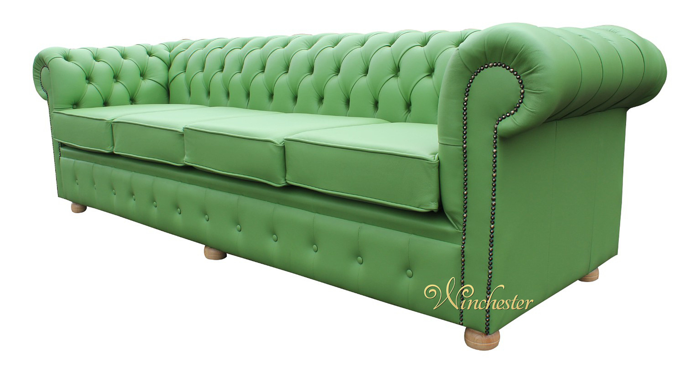 Chesterfield 4 Seater Apple Green Leather Wc